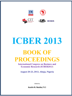 ICBER2013 Book of Proceedings cover